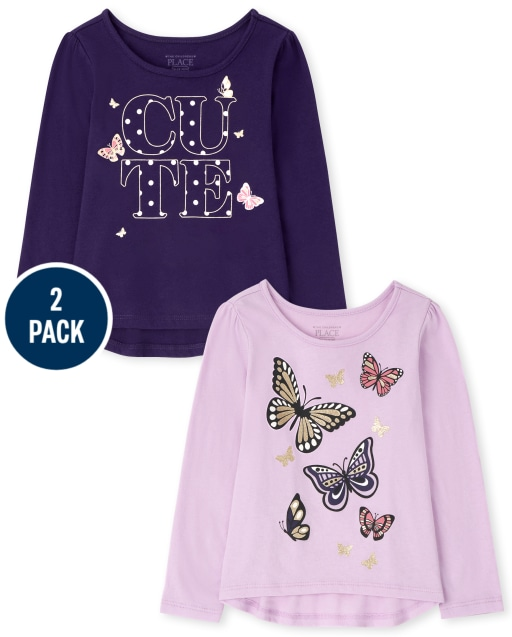 Toddler Girls Long Sleeve Butterfly Top 2-Pack