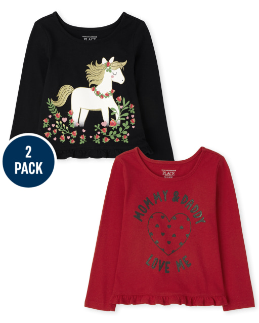 Toddler Girls Long Sleeve Unicorn And Mommy And Daddy Ruffle Top 2-Pack