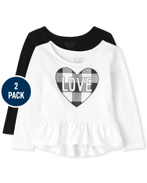 Toddler Girls Long Sleeve 'Love' Buffalo Plaid And Solid Peplum Top 2-Pack