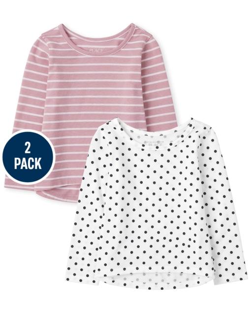 Toddler Girls Long Sleeve Print Top 2-Pack