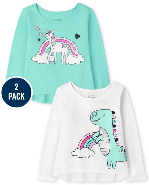 Toddler Girls Long Sleeve Dino And Unicorn Top 2-Pack