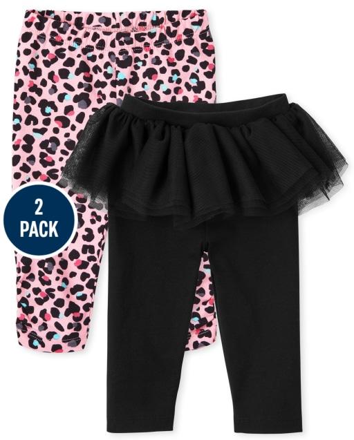 Baby Girls Leopard Print And Tutu Knit Leggings 2-Pack