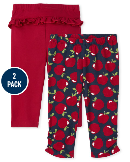 Baby Girls Apple Knit Pants 2-Pack
