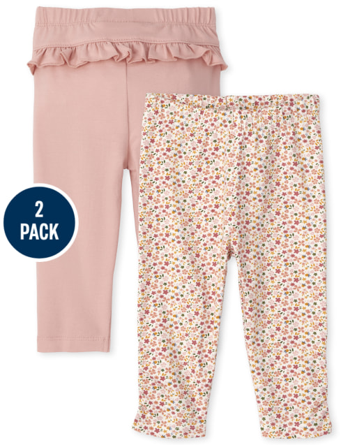 Baby Girls Floral Knit Pants 2-Pack