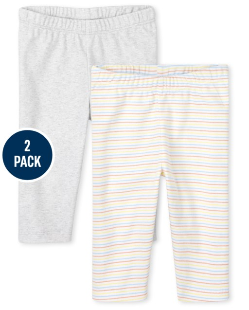 Unisex Baby Striped And Solid Knit Pants 2-Pack