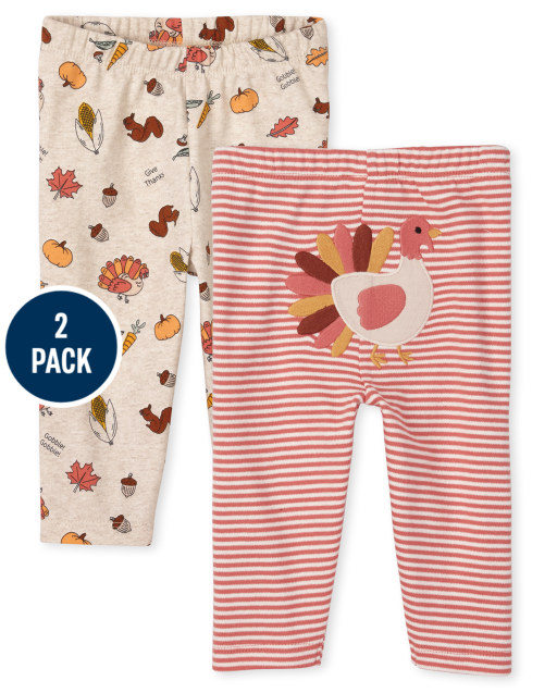 Unisex Baby Thanksgiving Knit Pants 2-Pack