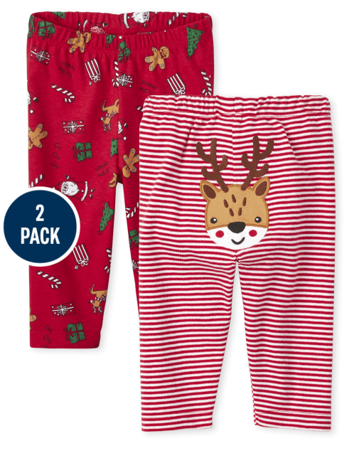 Unisex Baby Christmas Knit Pants 2-Pack