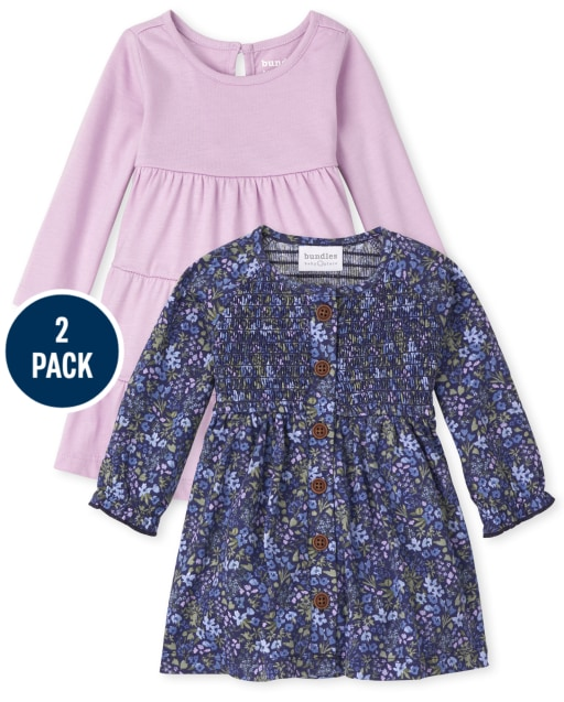 Baby Girls Long Sleeve Floral Print And Tiered Knit Bodysuit Dress 2-Pack