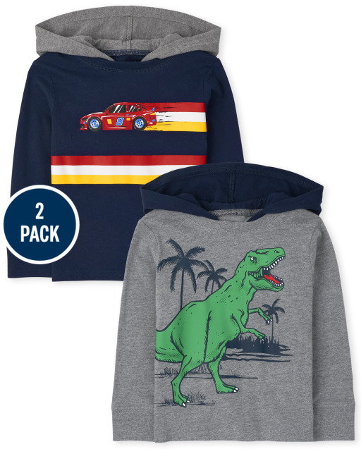 Baby And Toddler Boys Long Sleeve Dino And Car Hoodie Top 2-Pack