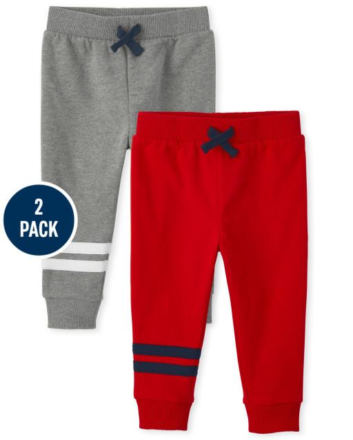 Paquete de 2 pantalones joggers activos de polar a rayas para bebés y niños pequeños
