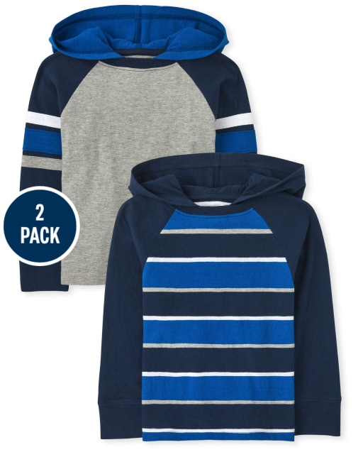 Baby And Toddler Boys Long Sleeve Striped Hoodie Top 2-Pack