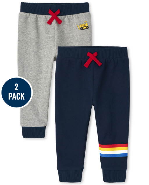 Paquete de 2 pantalones joggers de forro polar a rayas de construcción activa para bebés y niños pequeños