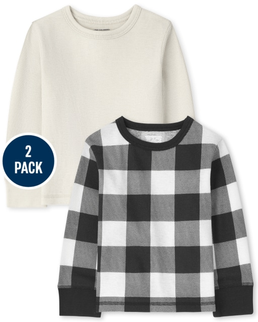 Toddler Boys Long Sleeve Solid And Buffalo Plaid Thermal Top 2-Pack