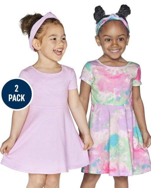 Paquete de 2 vestidos skater con corte de punto liso y teñido anudado de manga corta para bebés y niñas pequeñas