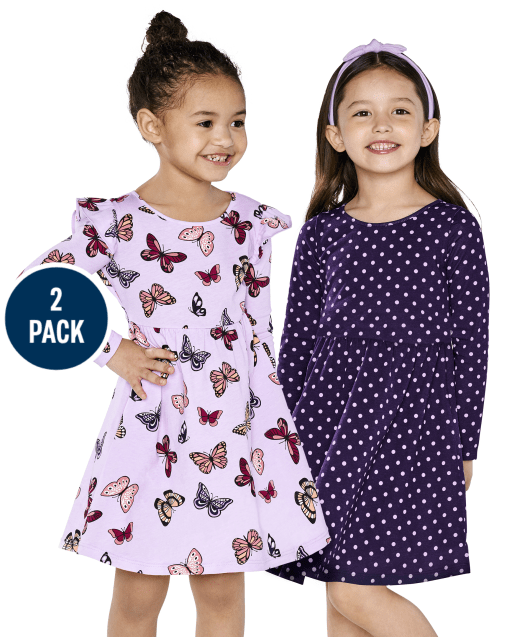 Toddler Girls Long Sleeve Butterfly And Dot Print Knit Babydoll Dress 2-Pack