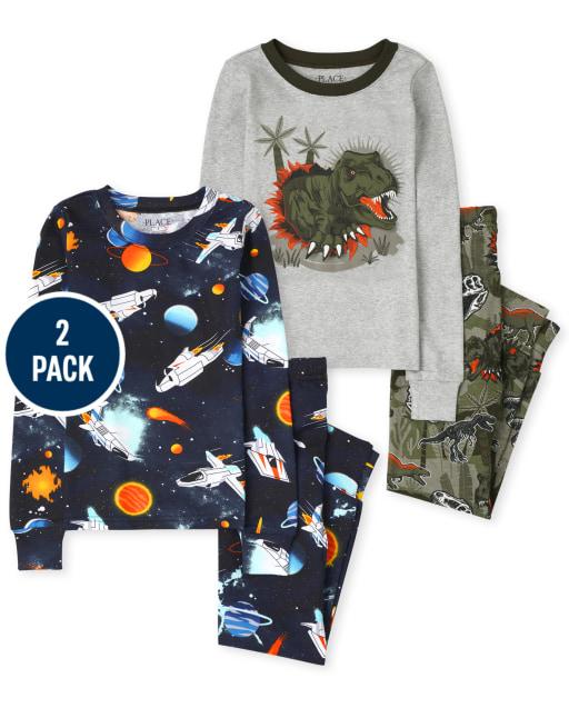 Boys Long Sleeve Space Dino Snug Fit Cotton Pajamas 2-Pack