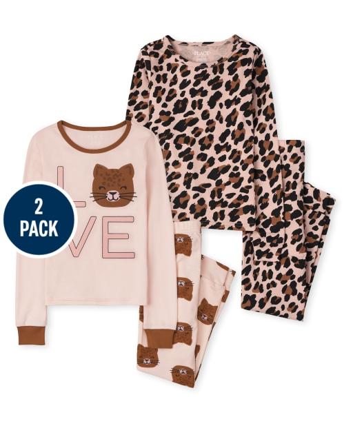 Girls Long Sleeve 'Love' Leopard Snug Fit Cotton Pajamas 2-Pack
