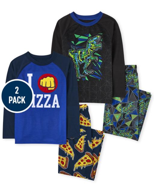 Boys Long Sleeve Dino Pizza Pajamas 2-Pack