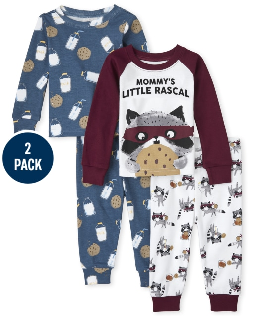 Baby And Toddler Boys Long Sleeve Milk And Cookies Snug Fit Cotton Pajamas 2-Pack