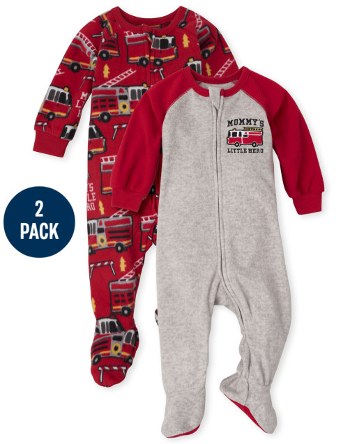 Baby And Toddler Boys Long Sleeve Fire Truck Fleece Footed One Piece Pajamas 2-Pack