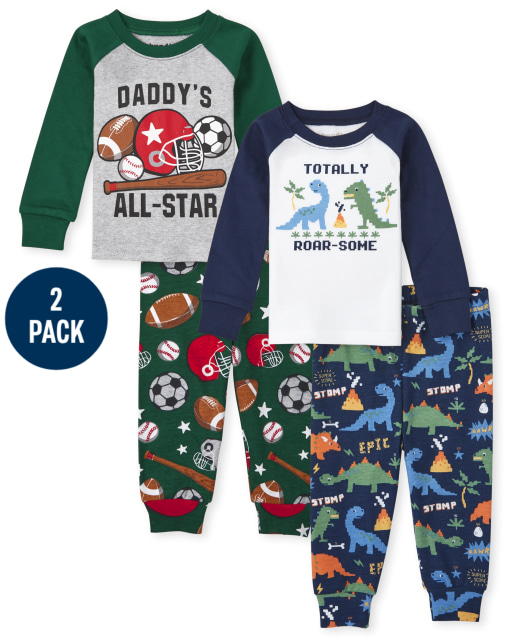 Baby And Toddler Boys Long Sleeve Dino Sports Snug Fit Cotton Pajamas 2-Pack