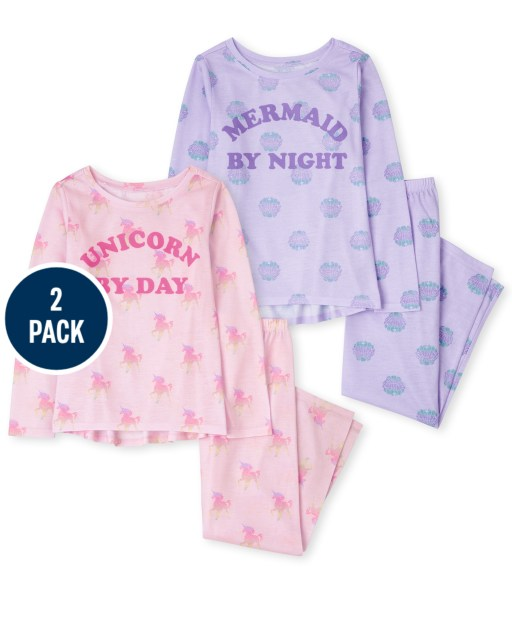 Girls Long Sleeve Mermaid Unicorn Pajamas 2-Pack