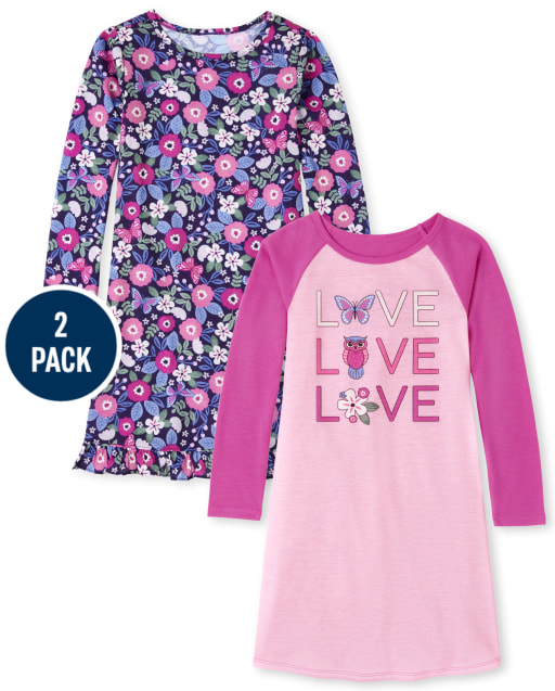 Girls Long Sleeve Floral Love Nightgown 2-Pack