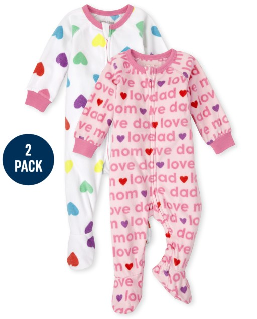 Baby And Toddler Girls Long Sleeve Love Fleece Footed One Piece Pajamas 2-Pack
