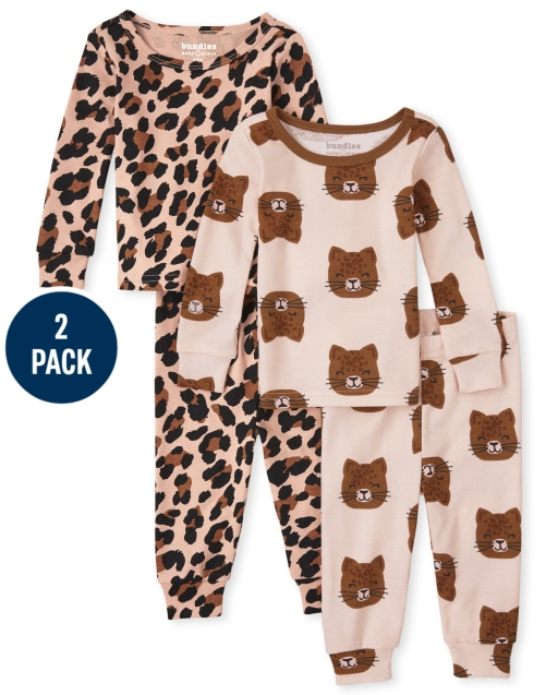 Baby And Toddler Girls Long Sleeve Leopard Snug Fit Cotton Pajamas 2-Pack
