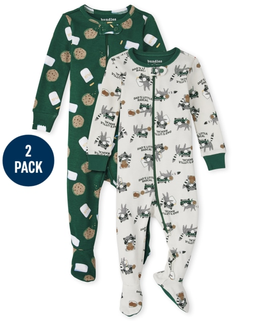 Baby And Toddler Boys Long Sleeve Milk And Cookies Snug Fit Cotton One Piece Pajamas 2-Pack