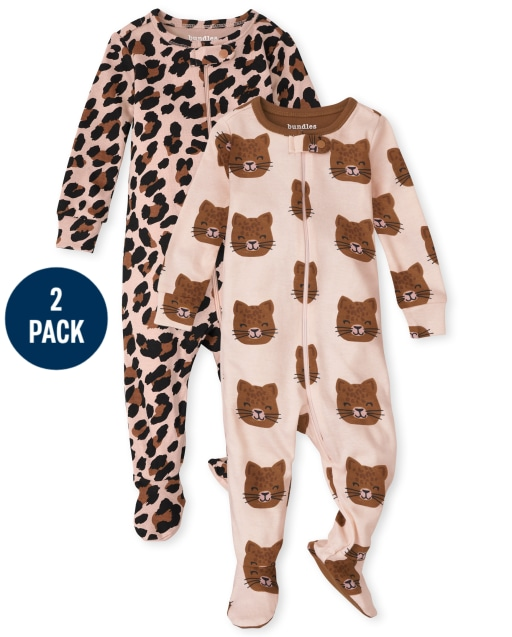 Baby And Toddler Girls Leopard Snug Fit Cotton One Piece Pajamas 2-Pack