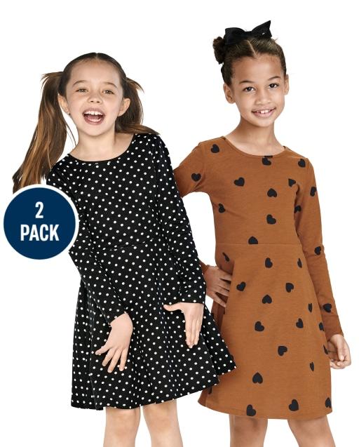 Girls Long Sleeve Heart And Dot Print Knit Skater Dress 2-Pack