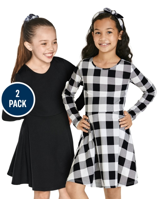 Girls Long Sleeve Solid And Buffalo Plaid Knit Skater Dress 2-Pack