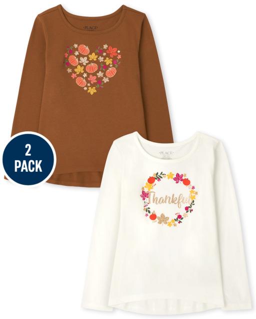 Pack de 2 camisetas de manga larga de Acción de Gracias para niñas