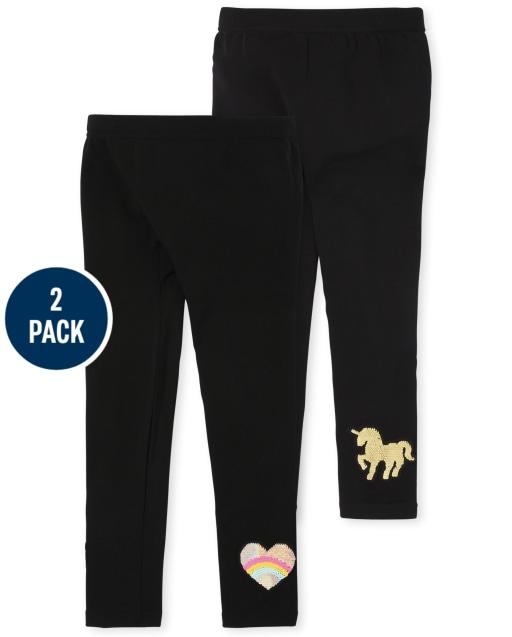Girls Flip Sequin Knit Fleece Lined Leggings 2-Pack