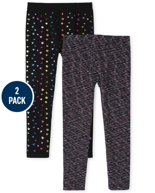 Girls Print Knit Fleece Lined Leggings 2-Pack