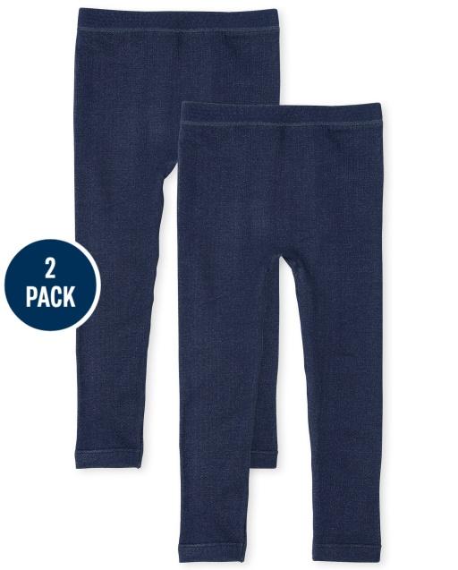Pack de 2 leggings con forro polar de punto de mezclilla sintética para niñas