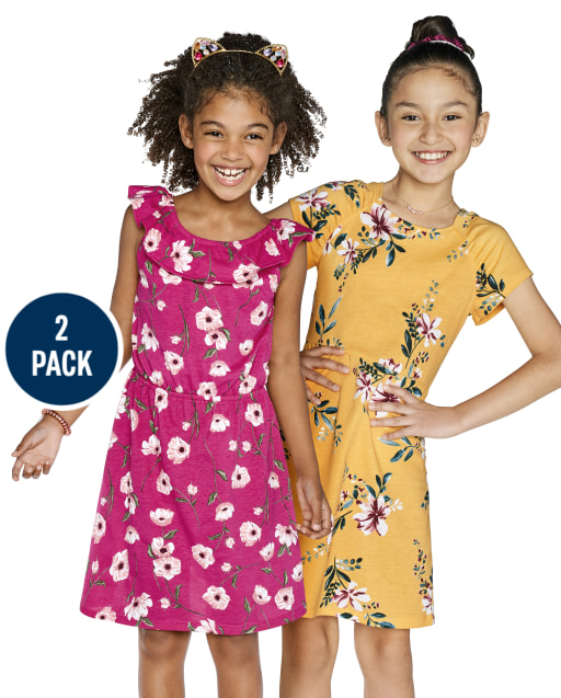 Girls Short Sleeve Floral Print Knit Dress 2-Pack