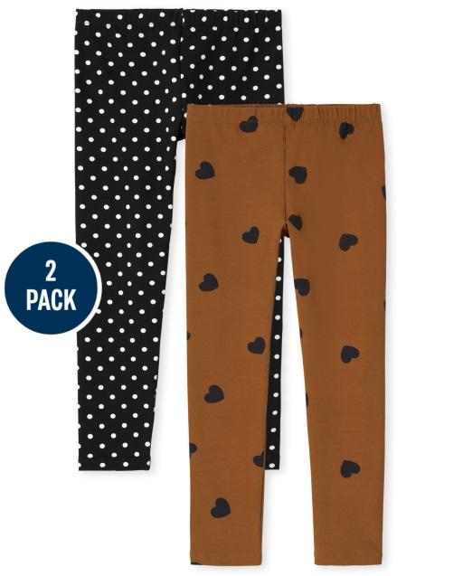 Girls Print Knit Leggings 2-Pack