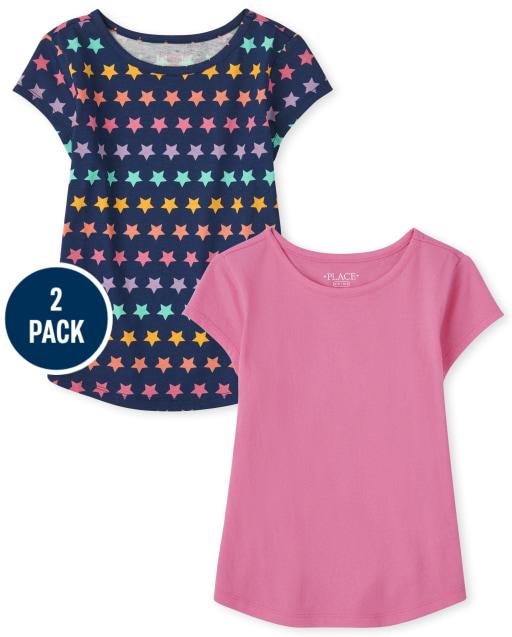 Paquete de 2 blusas lisas y estampado de estrellas arcoíris de manga corta para niñas