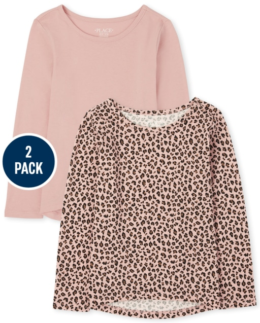 Girls Long Sleeve Solid And Leopard Print Top 2-Pack