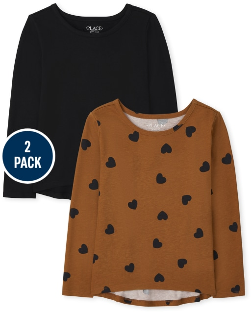 Girls Long Sleeve Solid And Heart Print Top 2-Pack