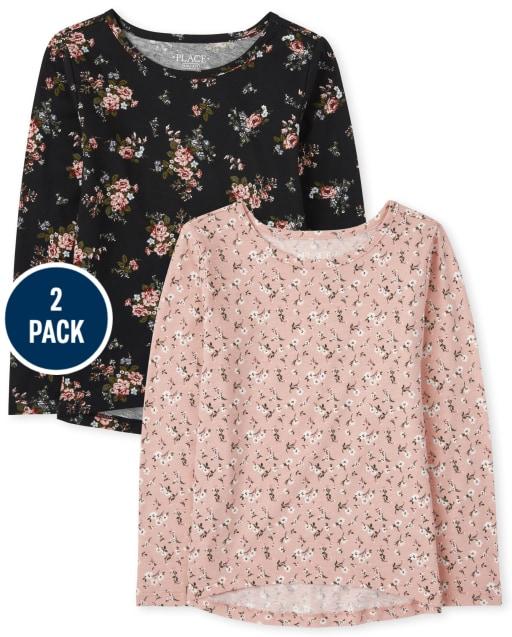Girls Long Sleeve Floral Print Top 2-Pack
