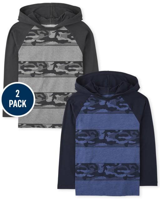 Boys Long Sleeve Striped Raglan Hoodie Top 2-Pack