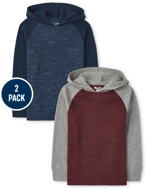 Boys Long Sleeve Raglan Thermal Hoodie Top 2-Pack