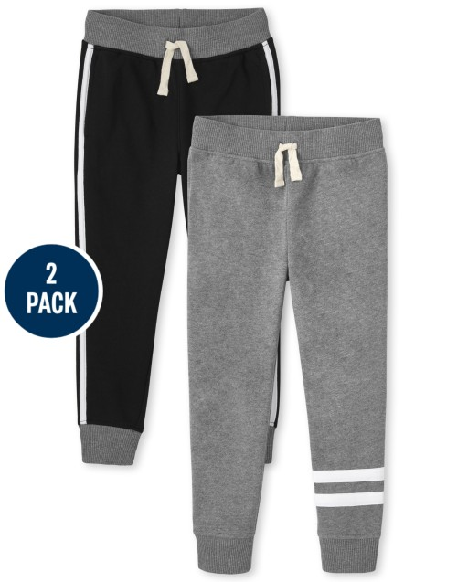 Pack de 2 pantalones joggers de polar a rayas activas para niños
