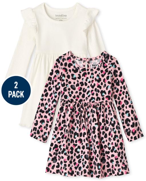 Pack de 2 vestidos de body de manga larga con estampado de leopardo y volantes para bebé niña