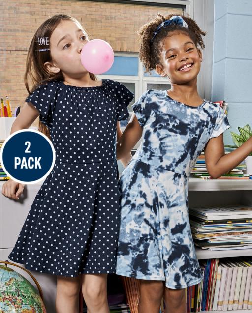 Girls Short Sleeve Print Knit Skater Dress 2 Pack