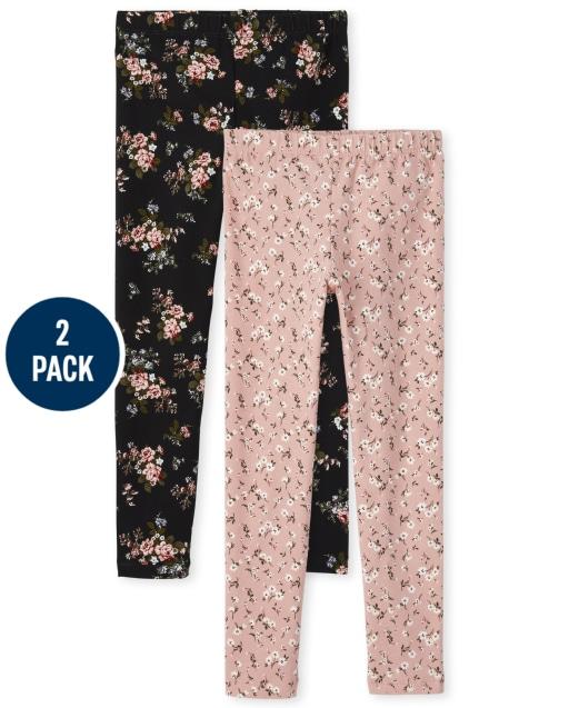 Pack de 2 leggings de punto estampados para niñas