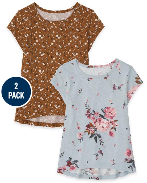 Pack de 2 camisetas de manga corta con estampado floral para niñas